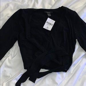 Forever 21 criss cross tie sweater crop top